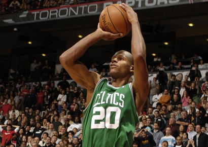 Perfect form. Ray Allen and the Celtics play the Bucks noon Sunday at the BC.